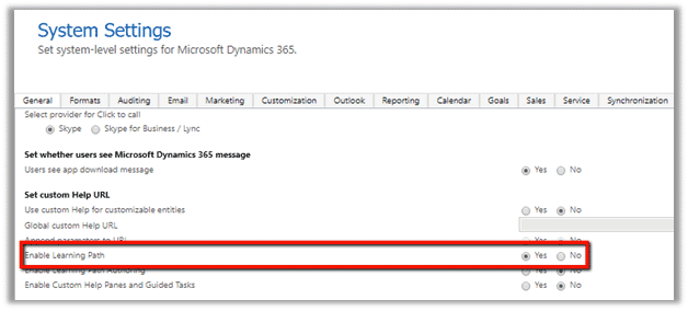 Set Enable Learning Path in Dynamics 365
