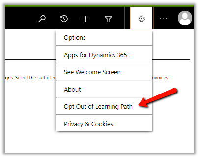 Opt Out of Learning Path from Personal Options in Dynamics 365