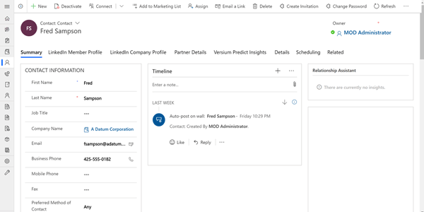 Contacts in Microsoft Dynamics CRM
