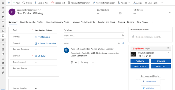 Opportunities in Microsoft Dynamics CRM